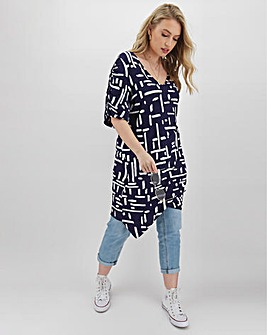 Mono Print Tuck Side Tunic