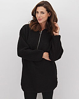 Black Hooded Teddy Fleece Dress