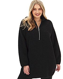 Black Hooded Teddy Fleece Dress