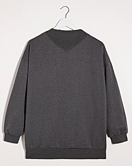 Charcoal Marl High Neck Sweat Tunic