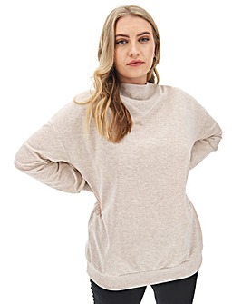 Oatmeal High Neck Sweat Tunic