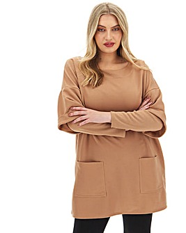 Camel Double Layer Sweat Dress