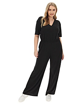 Black Wide Leg V Neck Jumpsuit