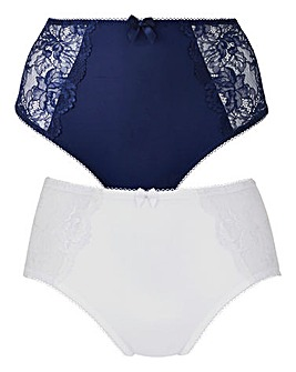 2Pack Ella Lace Navy/White Briefs