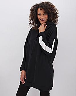 Black Longline Stripe Hoodie