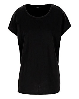 Black Curved Hem T Shirt