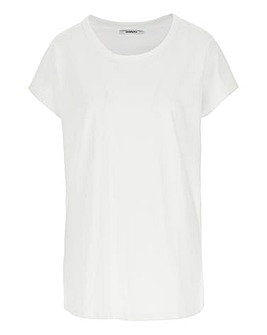 White Curved Hem T Shirt