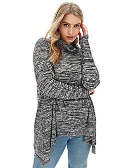 Grey Cowl Neck Hanky Hem Knit LookTunic