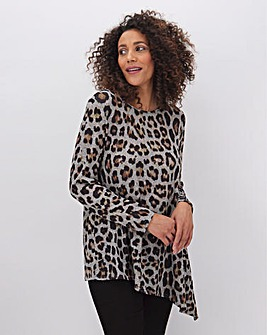 Leopard Print Asymmetric Knit Look Tunic