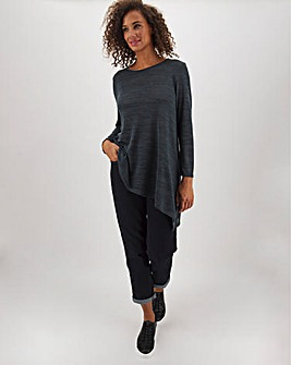 Charcoal Asymmetric Knit Look Tunic