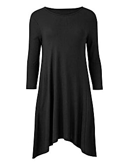 Black Short Sleeve Hanky Hem