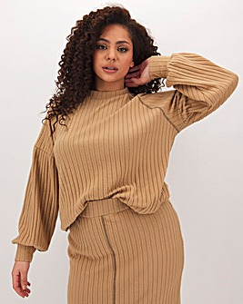 Camel Super Soft Stretch Rib Jumper