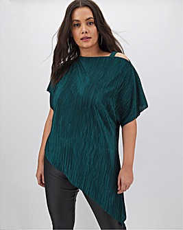 Teal Plisse Off The Shoulder Tunic