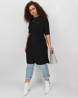 Black Drawcord Waist Tunic