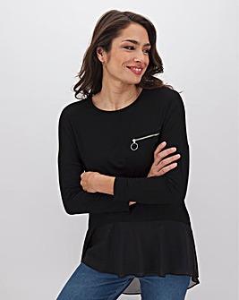 Black Woven Hem Zip Pocket Tunic