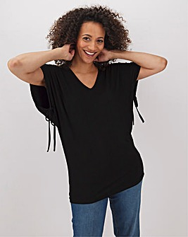 Black Drawcord Channel Sleeve Top