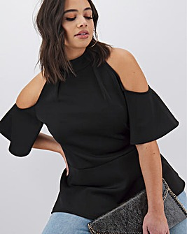 Black Cold Shoulder Scuba Top