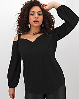 Black Bardot Long Sleeve Top