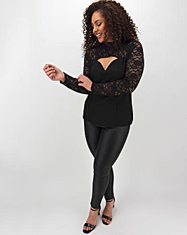 Cut Out Lace Long Sleeve Top
