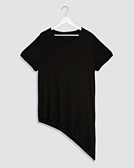 Black Puff Sleeve Asymmetric Tunic
