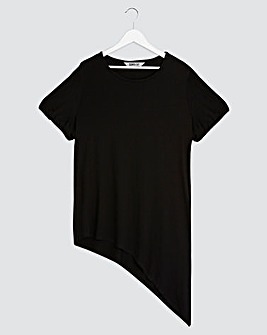 Black Puff Sleeve Asymmetric Tunic