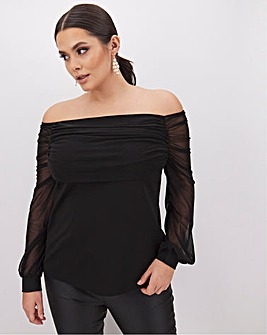 Black Ruched Mesh Bardot Top