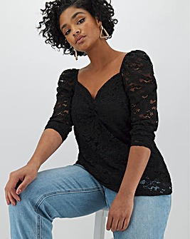 Black Puff Sleeve Long Sleeve Lace Top