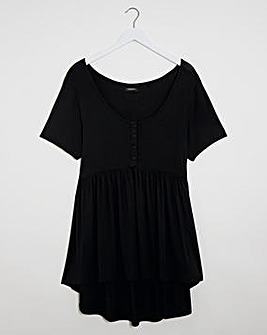 Black Short Sleeve Button Down Tunic