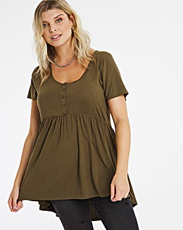 Olive Short Sleeve Button Down Tunic