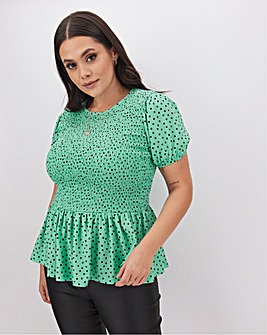 Peppermint Spot Fleurs Shirred Top