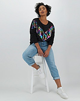 Rainbow Sequin Chevron Sweatshirt