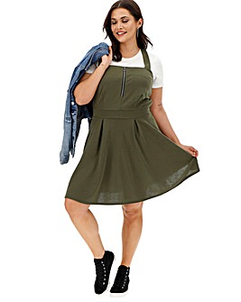 Khaki Zip Front Pinafore Dress