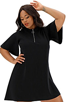 Black Short Sleeve Zip Tee Dress