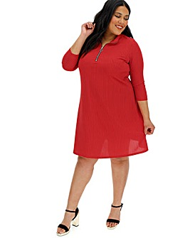 Red Zip Front Ribbed Dress