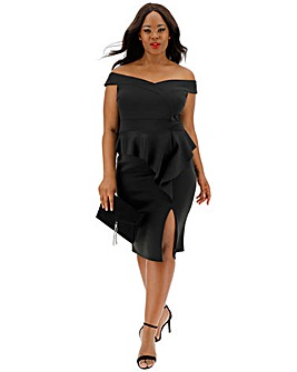 Black Peplum Bodycon Dress