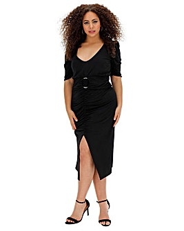 Ruched Front Belted Midi Dress