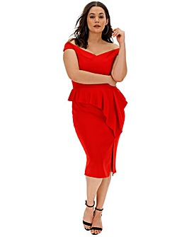 Red Peplum Bodycon Dress