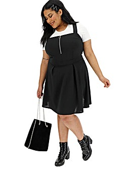 Black Zip Front Pinafore Dress