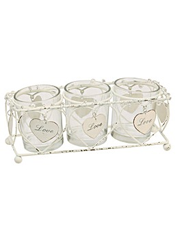 Hearts Triple Glass Tea Light Holder