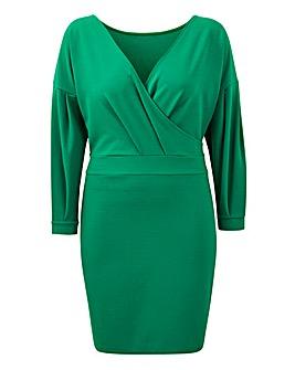 Green Puff Sleeve Tie Waist Dress