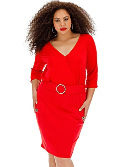 Red Wrap Front Belted Bodycon Dress