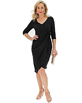 Black Side Twist Midi Dress