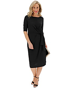 Black Tie Front Midi Dress