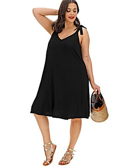 Clothing, Shoes & Accessories Maternity Lace Up Front & Tie Back Cotton Skater Dress 8 Uk Bnwt ~ Black Evident Effect