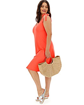 Coral Tie Shoulder Cami Dress
