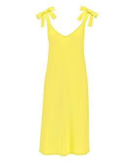 Yellow Tie Shoulder Cami Swing Dress