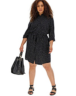 Heart Print Tie Waist Shirt Dress