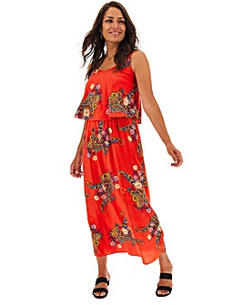 Red Paisley Layered Maxi Dress