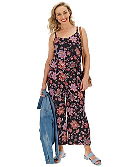 Folk Print Layered Culotte Jumpsuit