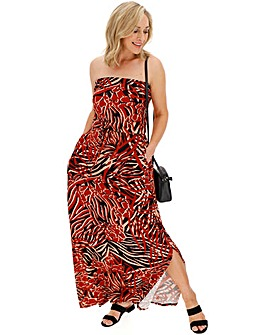 Multi Print Bandeau Maxi Dress